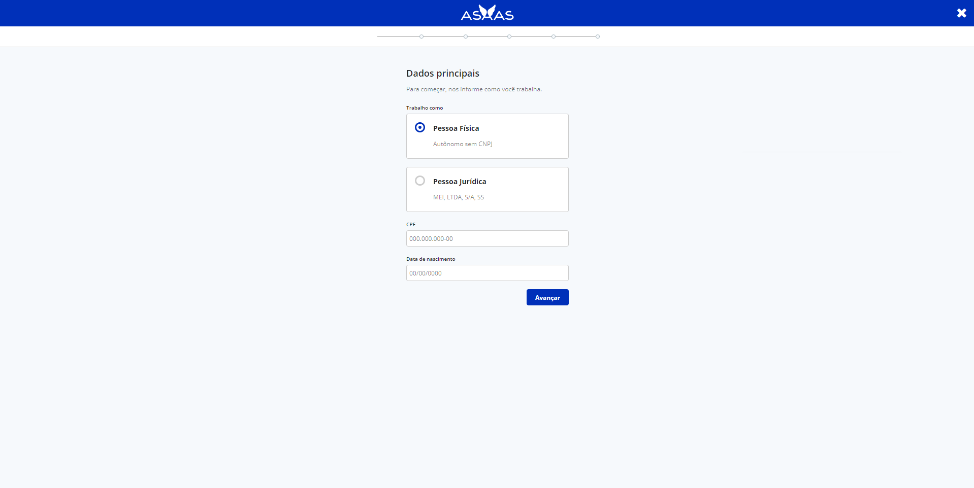 Tela do site Asaas, com barra superior azul com a logo do Asaas em branco. No centro da tela, há um formulário que pede o preenchimento de informações como: saber se a pessoa trabalha como MEI, Pessoa Física ou com CNPJ; data de nascimento.